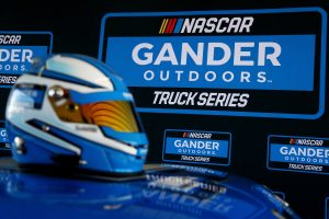 LONG POND, PA – JULY 29: A detailed view of the NASCAR Gander Outdoors Truck Series logo and helmet as it was announced that Gander Outdoors will sponsor the series in 2019 prior to the Monster Energy NASCAR Cup Series Gander Outdoors 400 at Pocono Raceway on July 29, 2018 in Long Pond, Pennsylvania. (Photo by Sarah Crabill/Getty Images) | Getty Images