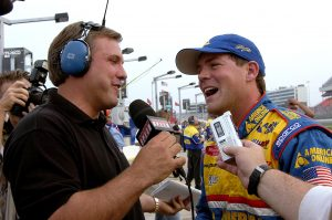 CONCORD, NC – MAY 16: Steve Park, driver of the #30 AOL Chevrolet Monte Carlo, talks to the media after setting a fast time for the Winston Open during the weekend of The Winston on May 16, 2003 at Lowes Motor Speedway in Concord, North Carolina. (Photo By Rusty Jarrett/Getty Images) | Getty Images
