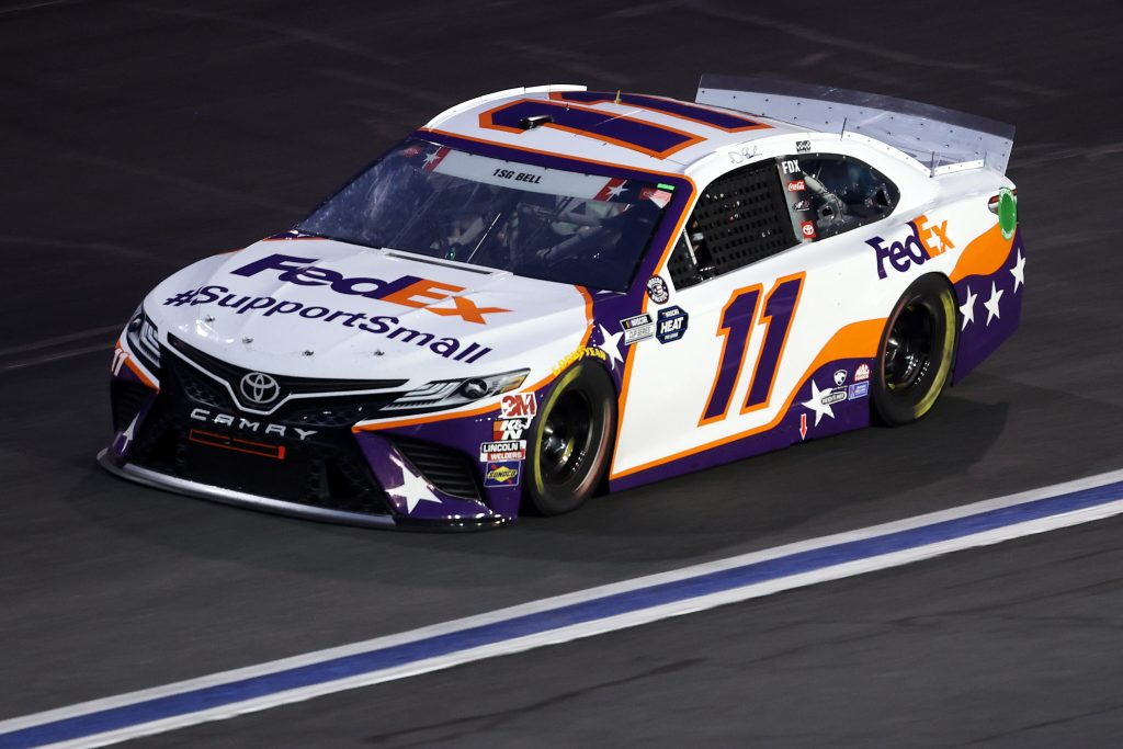 CONCORD, NORTH CAROLINA - MAY 24: Denny Hamlin, driver of the #11 FedEx SupportSmall Toyota, drives during the NASCAR Cup Series Coca-Cola 600 at Charlotte Motor Speedway on May 24, 2020 in Concord, North Carolina. (Photo by Chris Graythen/Getty Images) | Getty Images