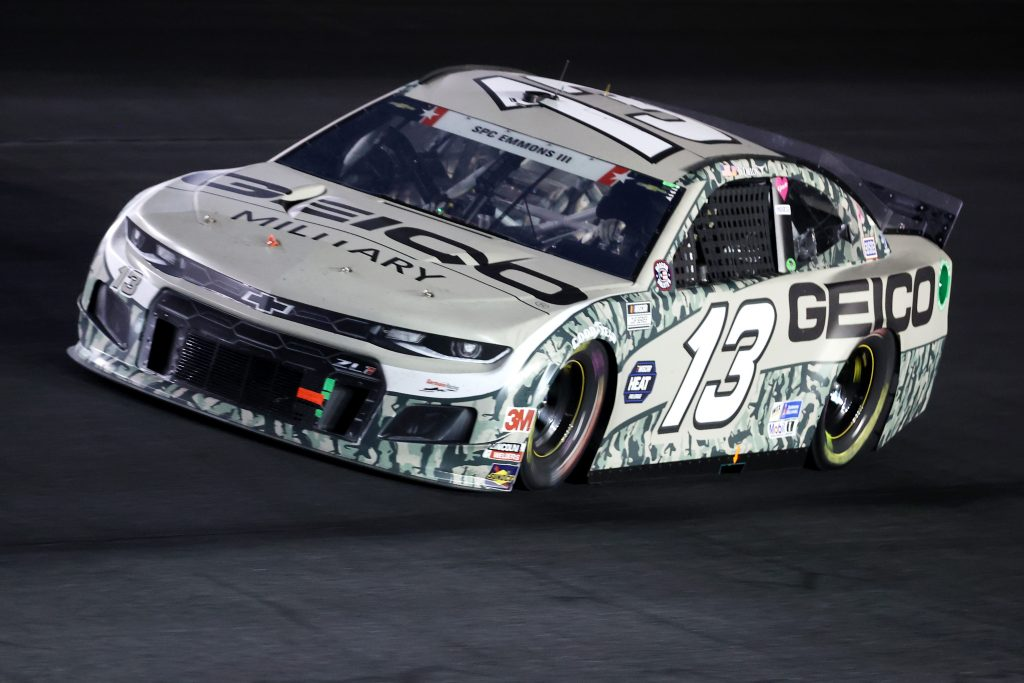 CONCORD, NORTH CAROLINA - MAY 24: Ty Dillon, driver of the #13 GEICO Military Chevrolet, drives during the NASCAR Cup Series Coca-Cola 600 at Charlotte Motor Speedway on May 24, 2020 in Concord, North Carolina. (Photo by Chris Graythen/Getty Images) | Getty Images