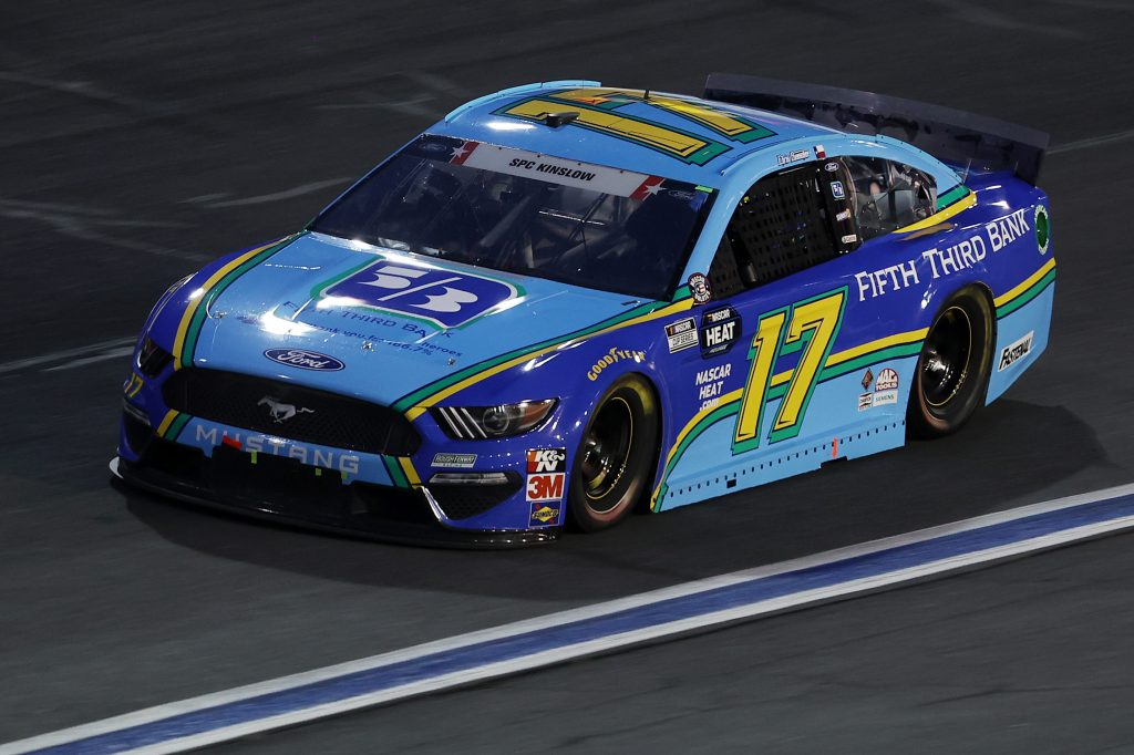 CONCORD, NORTH CAROLINA - MAY 24: Chris Buescher, driver of the #17 Fifth Third Bank Ford, during the NASCAR Cup Series Coca-Cola 600 at Charlotte Motor Speedway on May 24, 2020 in Concord, North Carolina. (Photo by Chris Graythen/Getty Images) | Getty Images