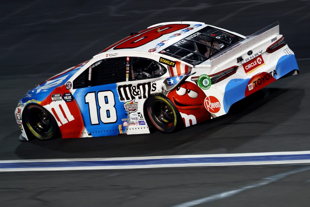 CONCORD, NORTH CAROLINA - MAY 24: Kyle Busch, driver of the #18 M&M's Red White Blue Toyota, drives during the NASCAR Cup Series Coca-Cola 600 at Charlotte Motor Speedway on May 24, 2020 in Concord, North Carolina. (Photo by Chris Graythen/Getty Images) | Getty Images