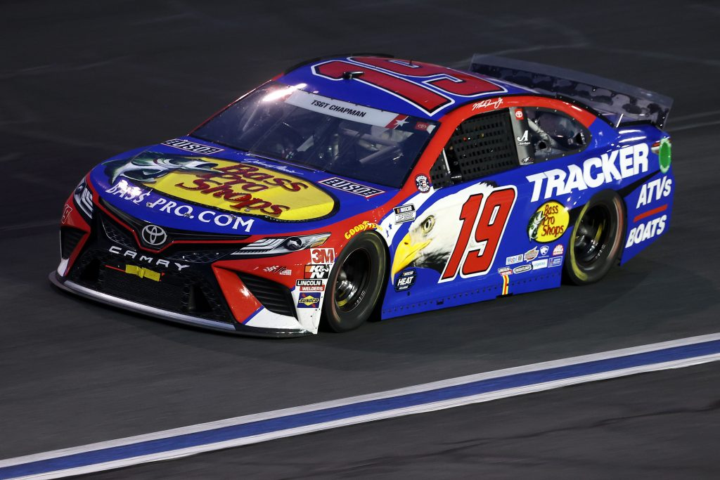 CONCORD, NORTH CAROLINA - MAY 24: Martin Truex Jr., driver of the #19 Bass Pro Shops/TRACKER/USO Toyota, drives during the NASCAR Cup Series Coca-Cola 600 at Charlotte Motor Speedway on May 24, 2020 in Concord, North Carolina. (Photo by Chris Graythen/Getty Images) | Getty Images