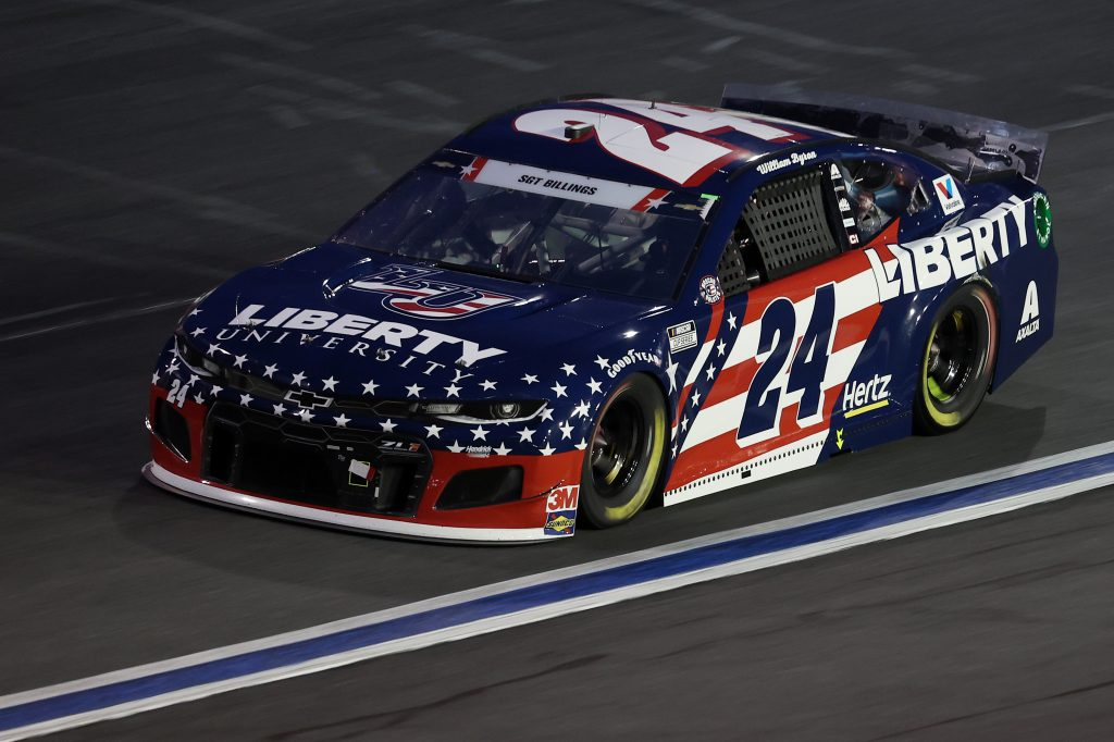 CONCORD, NORTH CAROLINA - MAY 24: William Byron, driver of the #24 Liberty University Patriotic Chevrolet, drives during the NASCAR Cup Series Coca-Cola 600 at Charlotte Motor Speedway on May 24, 2020 in Concord, North Carolina. (Photo by Chris Graythen/Getty Images) | Getty Images