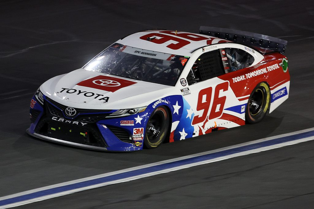 CONCORD, NORTH CAROLINA - MAY 24: Daniel Suarez, driver of the #96 Today.Tomorrow.Toyota Toyota, drives during the NASCAR Cup Series Coca-Cola 600 at Charlotte Motor Speedway on May 24, 2020 in Concord, North Carolina. (Photo by Chris Graythen/Getty Images) | Getty Images