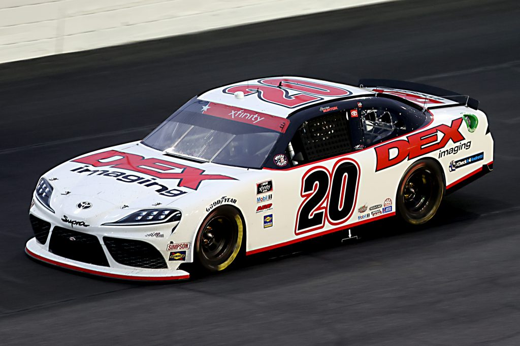CONCORD, NORTH CAROLINA - MAY 25: Harrison Burton, driver of the #20 Dex Imaging Toyota, drives during the NASCAR Xfinity Series Alsco 300 at Charlotte Motor Speedway on May 25, 2020 in Concord, North Carolina. (Photo by Chris Graythen/Getty Images) | Getty Images