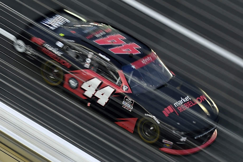 CONCORD, NORTH CAROLINA - MAY 25: Tommy Joe Martins, driver of the #44 Market Rebellion Chevrolet, drives during the NASCAR Xfinity Series Alsco 300 at Charlotte Motor Speedway on May 25, 2020 in Concord, North Carolina. (Photo by Jared C. Tilton/Getty Images) | Getty Images