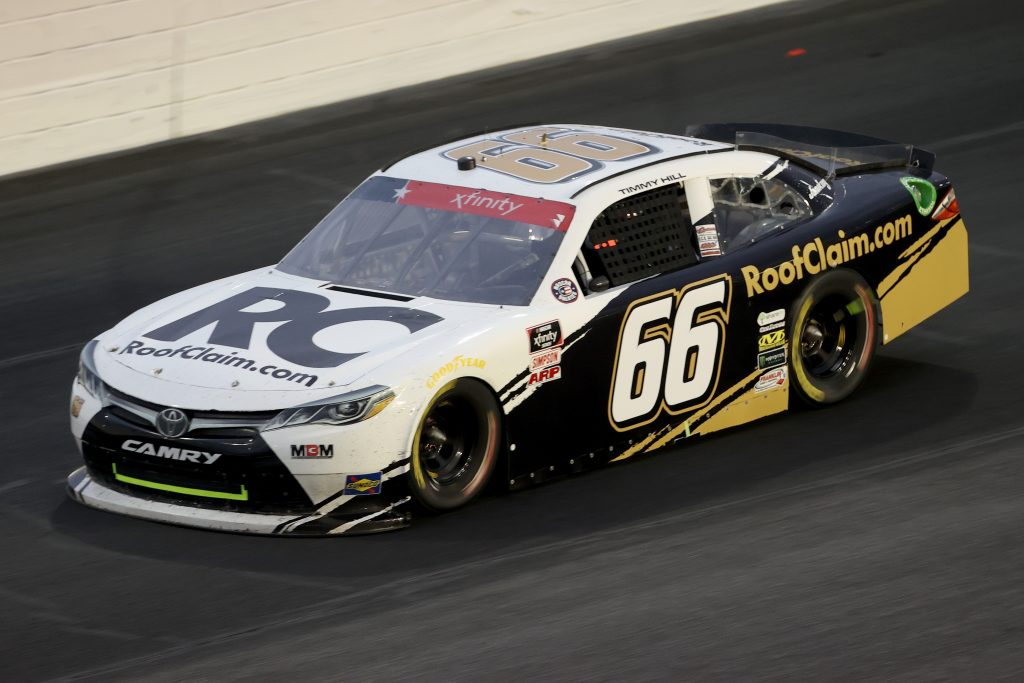 CONCORD, NORTH CAROLINA - MAY 25: Timmy Hill, driver of the #66 RoofClaim.com Toyota, drives during the NASCAR Xfinity Series Alsco 300 at Charlotte Motor Speedway on May 25, 2020 in Concord, North Carolina. (Photo by Chris Graythen/Getty Images) | Getty Images
