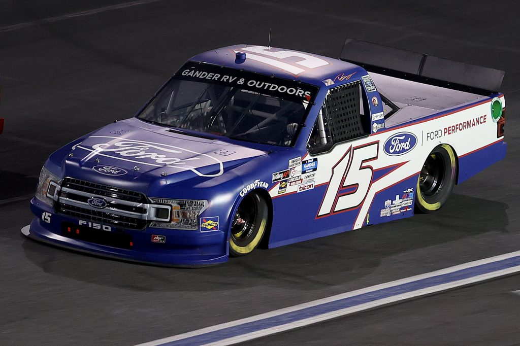 CONCORD, NORTH CAROLINA - MAY 26: Tanner Gray, driver of the #15 Ford/Ford Performance Ford, drives during the NASCAR Gander Outdoors Trucks Series North Carolina Education Lottery 200 at Charlotte Motor Speedway on May 26, 2020 in Concord, North Carolina. (Photo by Chris Graythen/Getty Images) | Getty Images