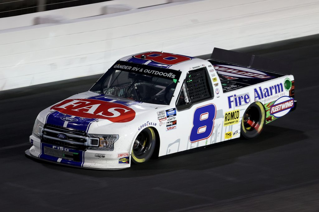 CONCORD, NORTH CAROLINA - MAY 26: John H. Nemechek, driver of the #8 Fire Alarm Services/Fleetwing Ford, drives during the NASCAR Gander Outdoors Trucks Series North Carolina Education Lottery 200 at Charlotte Motor Speedway on May 26, 2020 in Concord, North Carolina. (Photo by Chris Graythen/Getty Images) | Getty Images