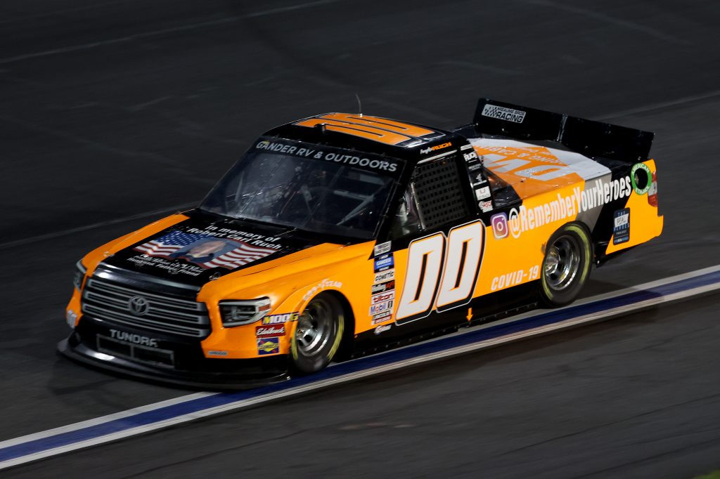 CONCORD, NORTH CAROLINA - MAY 26: Angela Ruch, driver of the #00 DWF Flooring & Cabinets Toyota, drives during the NASCAR Gander Outdoors Trucks Series North Carolina Education Lottery 200 at Charlotte Motor Speedway on May 26, 2020 in Concord, North Carolina. (Photo by Chris Graythen/Getty Images) | Getty Images