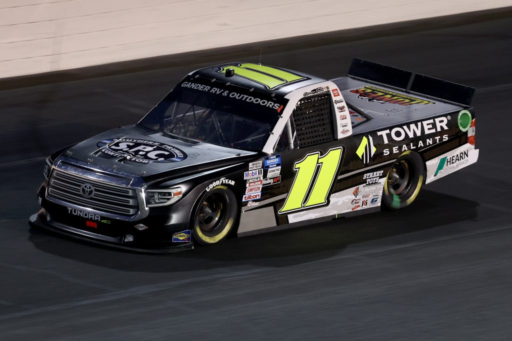 CONCORD, NORTH CAROLINA - MAY 26: Spencer Davis, driver of the #11 TowerSealants/SouthernPremierConst. Toyota, drives during the NASCAR Gander Outdoors Trucks Series North Carolina Education Lottery 200 at Charlotte Motor Speedway on May 26, 2020 in Concord, North Carolina. (Photo by Chris Graythen/Getty Images) | Getty Images