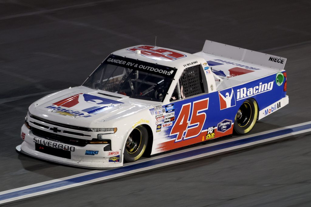 CONCORD, NORTH CAROLINA - MAY 26: Ty Majeski, driver of the #45 iRacing Chevrolet, drives during the NASCAR Gander Outdoors Trucks Series North Carolina Education Lottery 200 at Charlotte Motor Speedway on May 26, 2020 in Concord, North Carolina. (Photo by Chris Graythen/Getty Images) | Getty Images