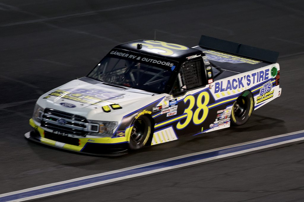 CONCORD, NORTH CAROLINA - MAY 26: Todd Gilliland, driver of the #38 Black's Tire Service Ford, drives during the NASCAR Gander Outdoors Trucks Series North Carolina Education Lottery 200 at Charlotte Motor Speedway on May 26, 2020 in Concord, North Carolina. (Photo by Chris Graythen/Getty Images) | Getty Images