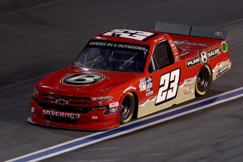 CONCORD, NORTH CAROLINA - MAY 26: Brett Moffitt, driver of the #23 Plan B Sales Chevrolet, drives during the NASCAR Gander Outdoors Trucks Series North Carolina Education Lottery 200 at Charlotte Motor Speedway on May 26, 2020 in Concord, North Carolina. (Photo by Chris Graythen/Getty Images) | Getty Images