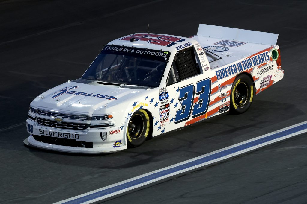 CONCORD, NORTH CAROLINA - MAY 26: Jesse Iwuji, driver of the #33 RBR Graphics Toyota, drives during the NASCAR Gander Outdoors Trucks Series North Carolina Education Lottery 200 at Charlotte Motor Speedway on May 26, 2020 in Concord, North Carolina. (Photo by Chris Graythen/Getty Images) | Getty Images