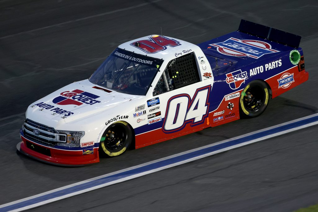 CONCORD, NORTH CAROLINA - MAY 26: Cory Roper, driver of the #04 CarQuest Auto Parts Ford, drives during the NASCAR Gander Outdoors Trucks Series North Carolina Education Lottery 200 at Charlotte Motor Speedway on May 26, 2020 in Concord, North Carolina. (Photo by Chris Graythen/Getty Images) | Getty Images