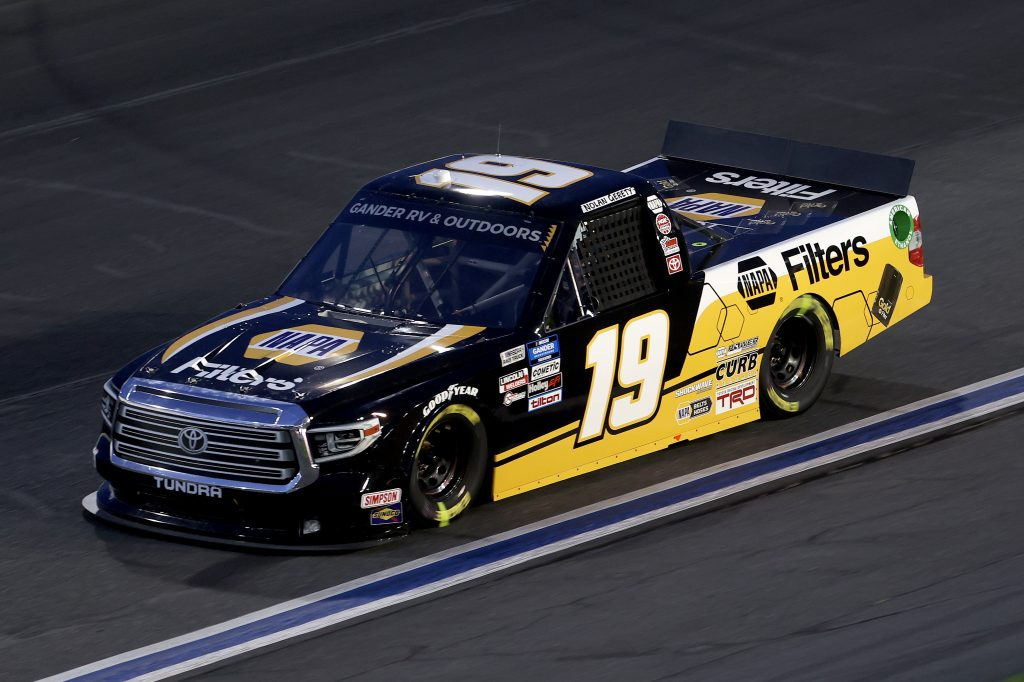 CONCORD, NORTH CAROLINA - MAY 26: Derek Kraus, driver of the #19 NAPA FILTERS Toyota, drives during the NASCAR Gander Outdoors Trucks Series North Carolina Education Lottery 200 at Charlotte Motor Speedway on May 26, 2020 in Concord, North Carolina. (Photo by Chris Graythen/Getty Images) | Getty Images