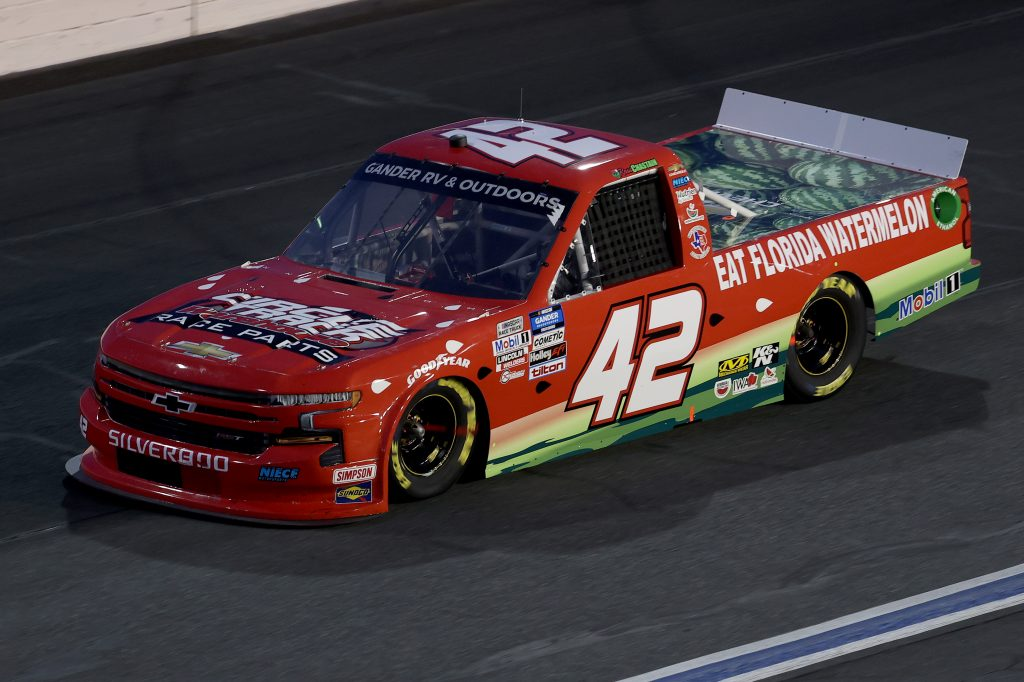 CONCORD, NORTH CAROLINA - MAY 26: Ross Chastain, driver of the #42 Florida Watermelon Association Chevrolet, drives during the NASCAR Gander Outdoors Trucks Series North Carolina Education Lottery 200 at Charlotte Motor Speedway on May 26, 2020 in Concord, North Carolina. (Photo by Chris Graythen/Getty Images) | Getty Images