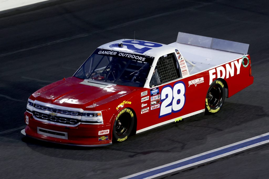 CONCORD, NORTH CAROLINA - MAY 26: Bryan Dauzat, driver of the #28 Chevrolet, drives during the NASCAR Gander Outdoors Trucks Series North Carolina Education Lottery 200 at Charlotte Motor Speedway on May 26, 2020 in Concord, North Carolina. (Photo by Chris Graythen/Getty Images) | Getty Images