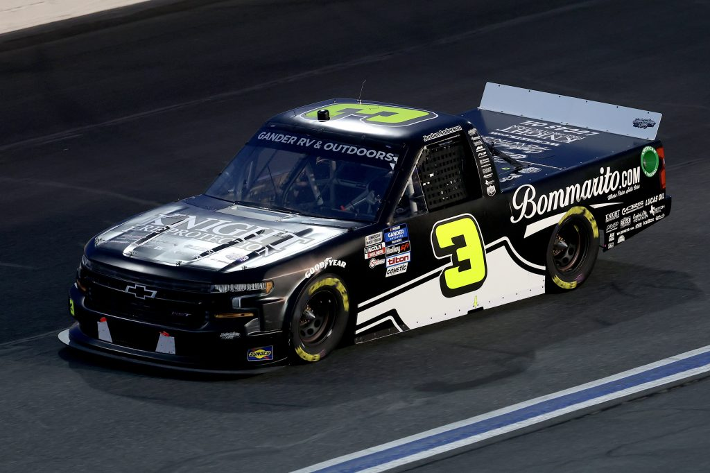 CONCORD, NORTH CAROLINA - MAY 26: Jordan Anderson, driver of the #3 Bommarito.com Chevrolet, drives during the NASCAR Gander Outdoors Trucks Series North Carolina Education Lottery 200 at Charlotte Motor Speedway on May 26, 2020 in Concord, North Carolina. (Photo by Chris Graythen/Getty Images) | Getty Images