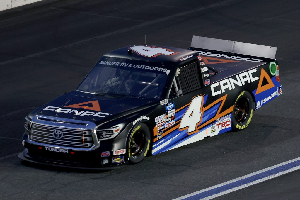 CONCORD, NORTH CAROLINA - MAY 26: Raphael Lessard, driver of the #4 Canac Toyota, drives during the NASCAR Gander Outdoors Trucks Series North Carolina Education Lottery 200 at Charlotte Motor Speedway on May 26, 2020 in Concord, North Carolina. (Photo by Chris Graythen/Getty Images) | Getty Images