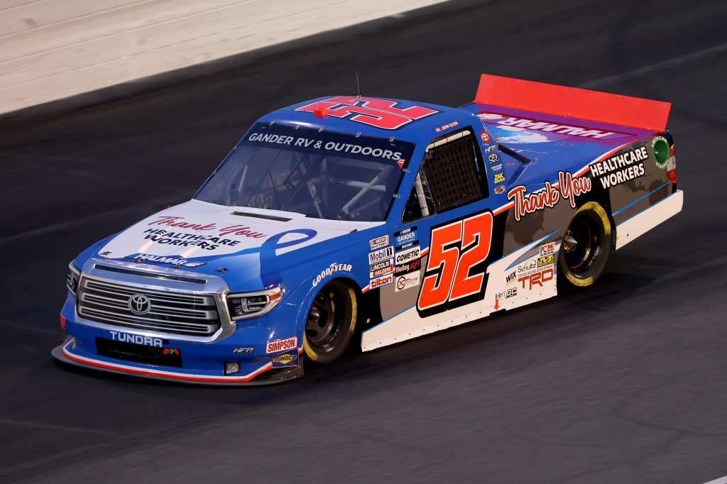CONCORD, NORTH CAROLINA - MAY 26: Stewart Friesen, driver of the #52 Halmar Int./Thank You Healthcare Workers Toyota, drives during the NASCAR Gander Outdoors Trucks Series North Carolina Education Lottery 200 at Charlotte Motor Speedway on May 26, 2020 in Concord, North Carolina. (Photo by Chris Graythen/Getty Images) | Getty Images