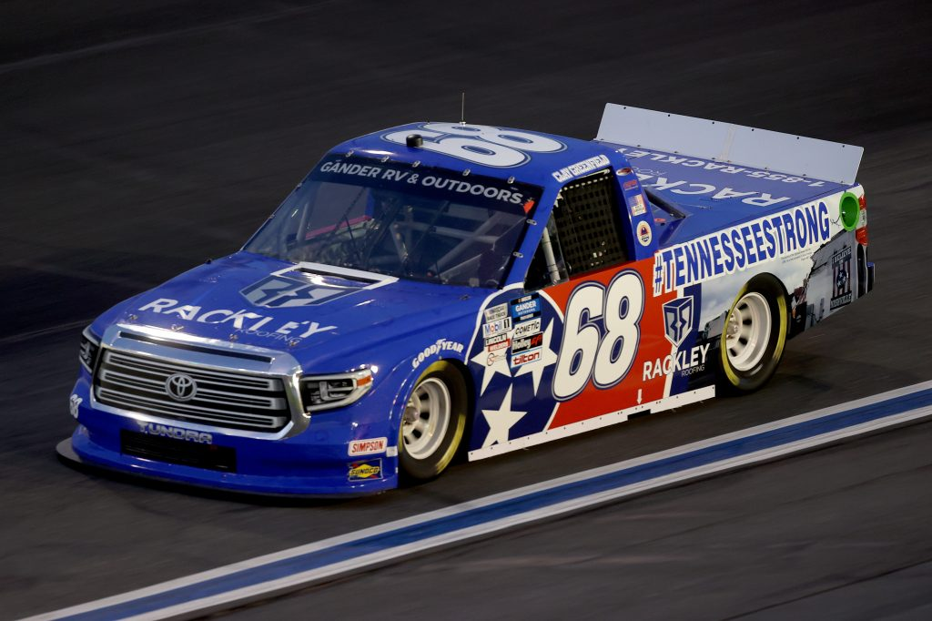 CONCORD, NORTH CAROLINA - MAY 26: Clay Greenfield, driver of the #68 Rackley Roofing Toyota, drives during the NASCAR Gander Outdoors Trucks Series North Carolina Education Lottery 200 at Charlotte Motor Speedway on May 26, 2020 in Concord, North Carolina. (Photo by Chris Graythen/Getty Images) | Getty Images