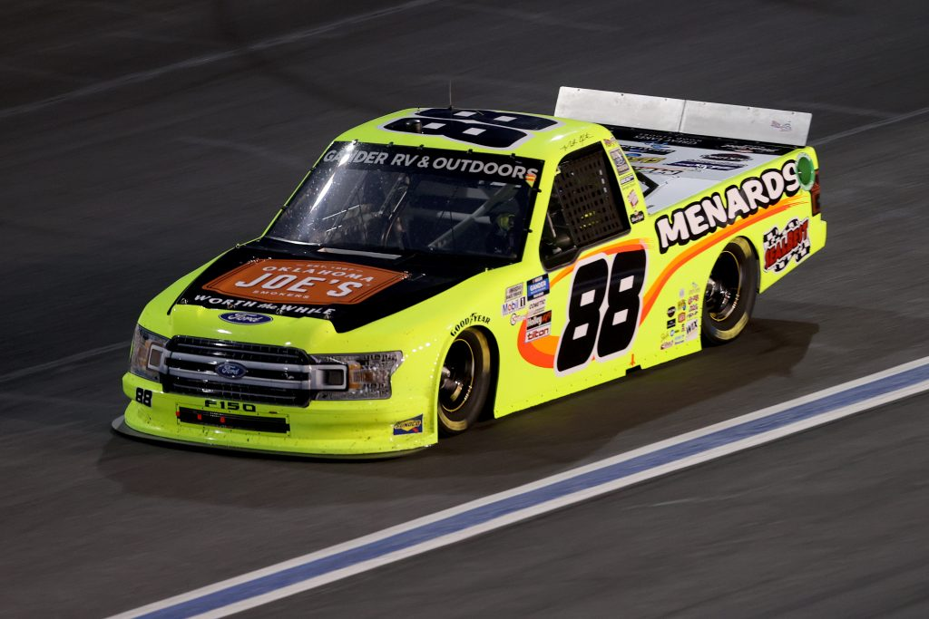 CONCORD, NORTH CAROLINA - MAY 26: Matt Crafton, driver of the #88 Oklahoma Joe's Smokers/Menards Ford, drives during the NASCAR Gander Outdoors Trucks Series North Carolina Education Lottery 200 at Charlotte Motor Speedway on May 26, 2020 in Concord, North Carolina. (Photo by Chris Graythen/Getty Images) | Getty Images