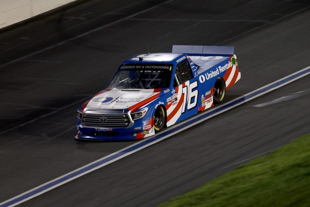 CONCORD, NORTH CAROLINA - MAY 26: Austin Hill, driver of the #16 United Rentals Toyota, drives during the NASCAR Gander Outdoors Trucks Series North Carolina Education Lottery 200 at Charlotte Motor Speedway on May 26, 2020 in Concord, North Carolina. (Photo by Chris Graythen/Getty Images) | Getty Images