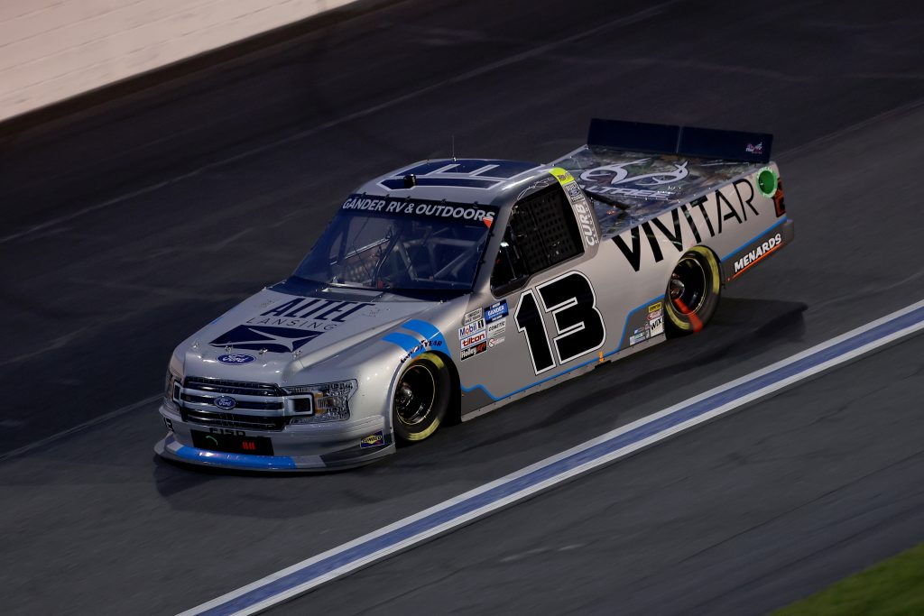 CONCORD, NORTH CAROLINA - MAY 26: Johnny Sauter, driver of the #13 Vivitar/Altec Lansing Ford, drives during the NASCAR Gander Outdoors Trucks Series North Carolina Education Lottery 200 at Charlotte Motor Speedway on May 26, 2020 in Concord, North Carolina. (Photo by Chris Graythen/Getty Images) | Getty Images