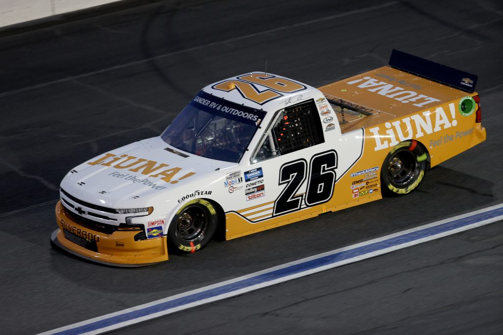 CONCORD, NORTH CAROLINA - MAY 26: Tyler Ankrum, driver of the #26 Liuna drives during the NASCAR Gander Outdoors Trucks Series North Carolina Education Lottery 200 at Charlotte Motor Speedway on May 26, 2020 in Concord, North Carolina. (Photo by Chris Graythen/Getty Images) | Getty Images
