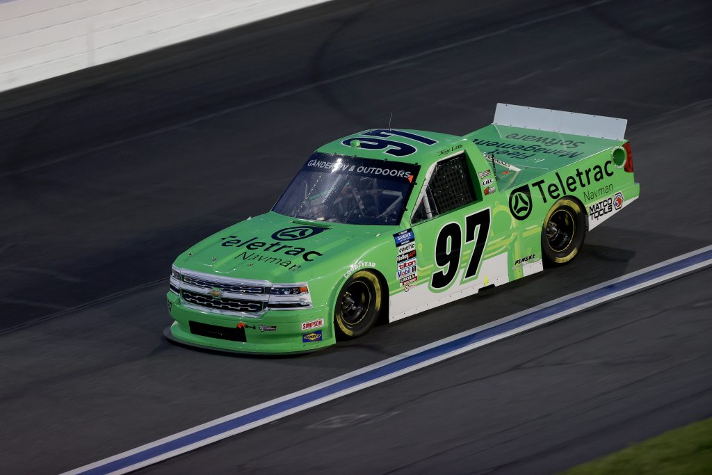 CONCORD, NORTH CAROLINA - MAY 26: Jesse Little, driver of the #97 Teletrac Navman Chevrolet, drives during the NASCAR Gander Outdoors Trucks Series North Carolina Education Lottery 200 at Charlotte Motor Speedway on May 26, 2020 in Concord, North Carolina. (Photo by Chris Graythen/Getty Images) | Getty Images