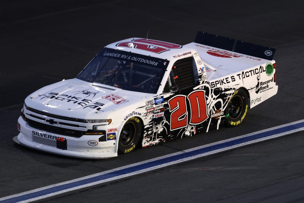 CONCORD, NORTH CAROLINA - MAY 26: Spencer Boyd, driver of the #20 Spike's Tactical Chevrolet, drives during the NASCAR Gander Outdoors Trucks Series North Carolina Education Lottery 200 at Charlotte Motor Speedway on May 26, 2020 in Concord, North Carolina. (Photo by Chris Graythen/Getty Images) | Getty Images