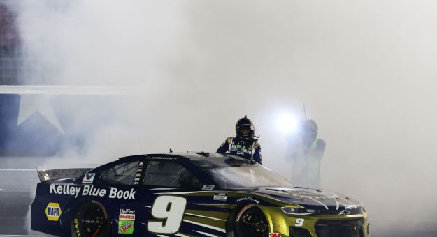 CONCORD, NORTH CAROLINA - MAY 28: Chase Elliott, driver of the #9 Kelley Blue Book Chevrolet, celebrates  after winning the NASCAR Cup Series Alsco Uniforms 500 at Charlotte Motor Speedway on May 28, 2020 in Concord, North Carolina. (Photo by Chris Graythen/Getty Images) | Getty Images
