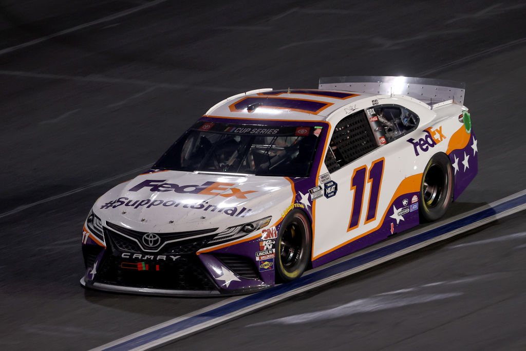 CONCORD, NORTH CAROLINA - MAY 28: Denny Hamlin, driver of the #11 FedEx SupportSmall Toyota, drives during the NASCAR Cup Series Alsco Uniforms 500 at Charlotte Motor Speedway on May 28, 2020 in Concord, North Carolina. (Photo by Chris Graythen/Getty Images) | Getty Images