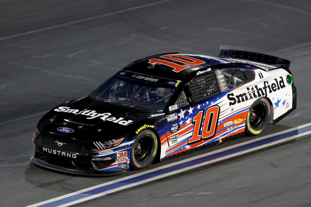 CONCORD, NORTH CAROLINA - MAY 28: Aric Almirola, driver of the #10 Smithfield Ford, drives during the NASCAR Cup Series Alsco Uniforms 500 at Charlotte Motor Speedway on May 28, 2020 in Concord, North Carolina. (Photo by Chris Graythen/Getty Images) | Getty Images