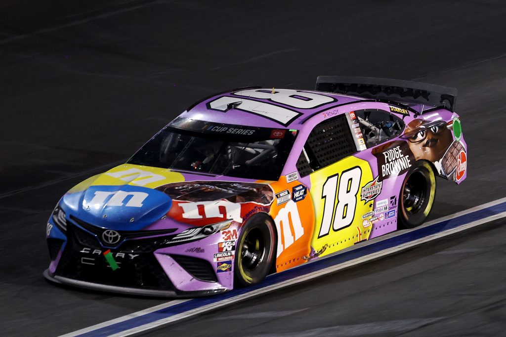 CONCORD, NORTH CAROLINA - MAY 28: Kyle Busch, driver of the #18 M&M's Fudge Brownie Toyota, drives during the NASCAR Cup Series Alsco Uniforms 500 at Charlotte Motor Speedway on May 28, 2020 in Concord, North Carolina. (Photo by Chris Graythen/Getty Images) | Getty Images