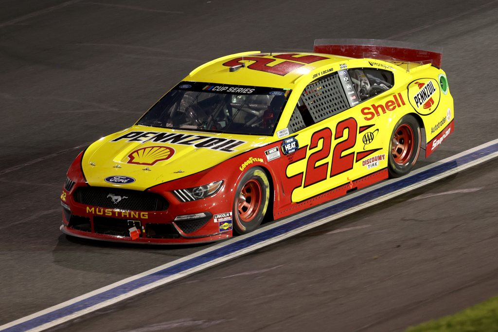 CONCORD, NORTH CAROLINA - MAY 28: Joey Logano, driver of the #22 Shell Pennzoil Ford, drives during the NASCAR Cup Series Alsco Uniforms 500 at Charlotte Motor Speedway on May 28, 2020 in Concord, North Carolina. (Photo by Chris Graythen/Getty Images) | Getty Images