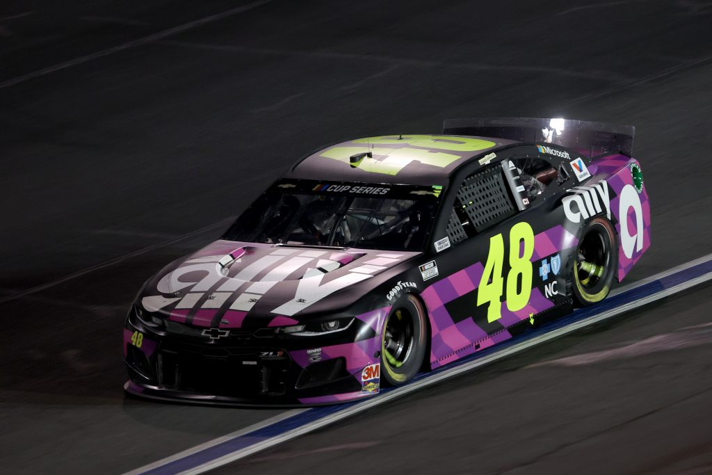 CONCORD, NORTH CAROLINA - MAY 28: Jimmie Johnson, driver of the #48 Ally Chevrolet, drives during the NASCAR Cup Series Alsco Uniforms 500 at Charlotte Motor Speedway on May 28, 2020 in Concord, North Carolina. (Photo by Chris Graythen/Getty Images) | Getty Images