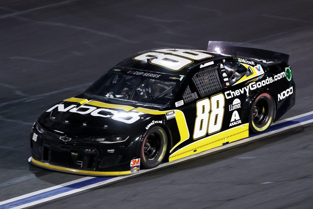 CONCORD, NORTH CAROLINA - MAY 28: Alex Bowman, driver of the #88 ChevyGoods.com/NOCO Chevrolet, drives during the NASCAR Cup Series Alsco Uniforms 500 at Charlotte Motor Speedway on May 28, 2020 in Concord, North Carolina. (Photo by Chris Graythen/Getty Images) | Getty Images