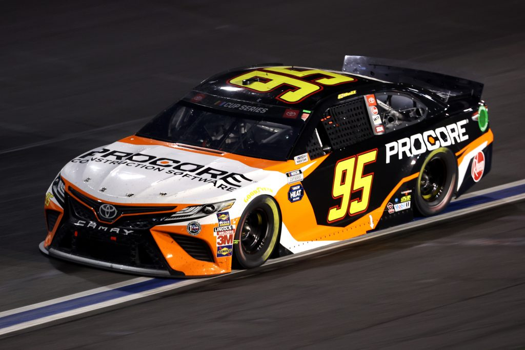 CONCORD, NORTH CAROLINA - MAY 28: Christopher Bell, driver of the #95 Procore Toyota, drives during the NASCAR Cup Series Alsco Uniforms 500 at Charlotte Motor Speedway on May 28, 2020 in Concord, North Carolina. (Photo by Chris Graythen/Getty Images) | Getty Images