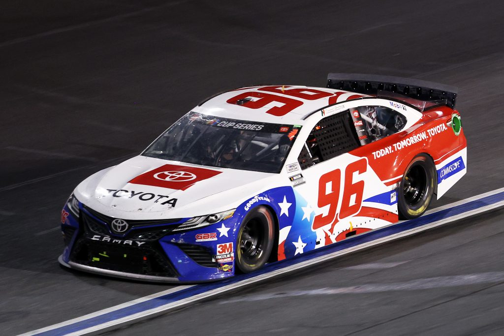 CONCORD, NORTH CAROLINA - MAY 28: Daniel Suarez, driver of the #96 Today.Tomorrow.Toyota Toyota, drives during the NASCAR Cup Series Alsco Uniforms 500 at Charlotte Motor Speedway on May 28, 2020 in Concord, North Carolina. (Photo by Chris Graythen/Getty Images) | Getty Images