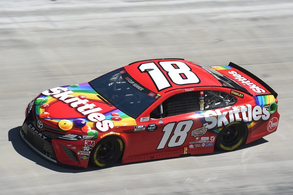 BRISTOL, TENNESSEE - MAY 31: Kyle Busch, driver of the #18 Skittles Toyota, drives during the NASCAR Cup Series Food City presents the Supermarket Heroes 500 at Bristol Motor Speedway on May 31, 2020 in Bristol, Tennessee. (Photo by Jared C. Tilton/Getty Images) | Getty Images