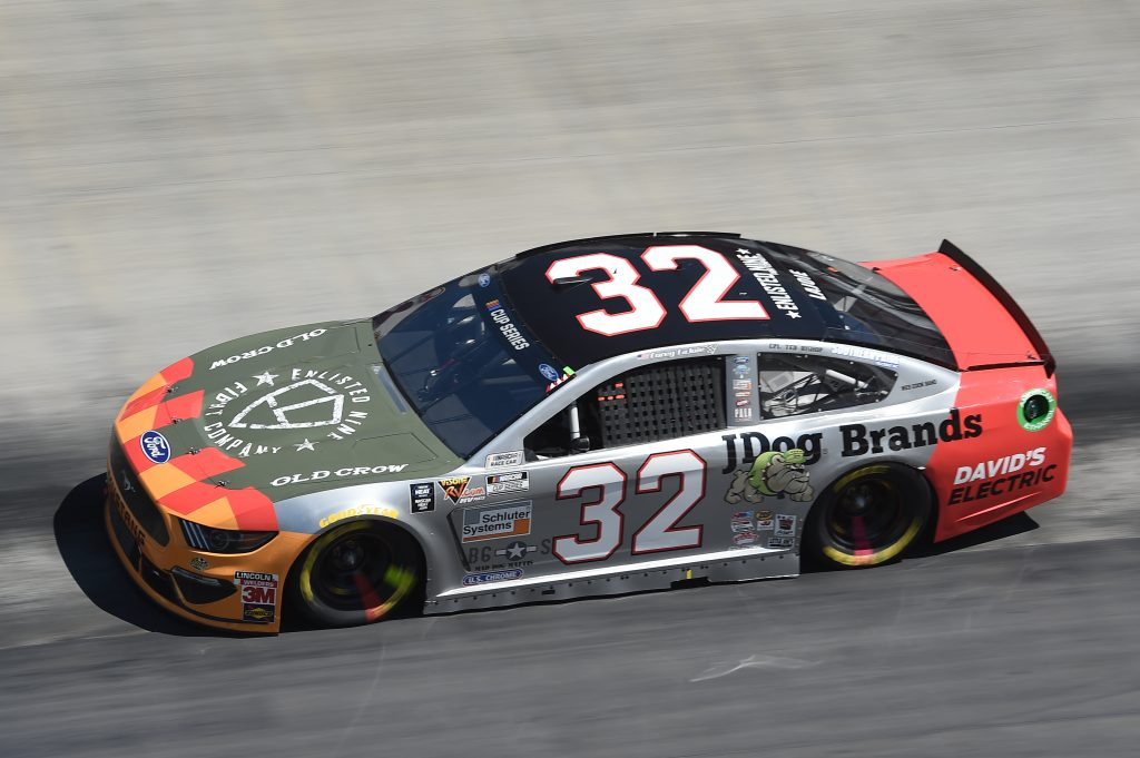 BRISTOL, TENNESSEE - MAY 31: Corey LaJoie, driver of the #32 Enlisted Nine/JDog Brands Ford, drives during the NASCAR Cup Series Food City presents the Supermarket Heroes 500 at Bristol Motor Speedway on May 31, 2020 in Bristol, Tennessee. (Photo by Jared C. Tilton/Getty Images) | Getty Images