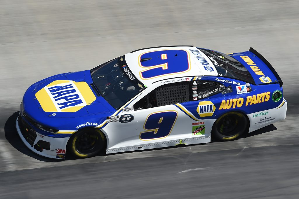 BRISTOL, TENNESSEE - MAY 31: Chase Elliott, driver of the #9 NAPA Auto Parts Chevrolet, drives during the NASCAR Cup Series Food City presents the Supermarket Heroes 500 at Bristol Motor Speedway on May 31, 2020 in Bristol, Tennessee. (Photo by Jared C. Tilton/Getty Images) | Getty Images