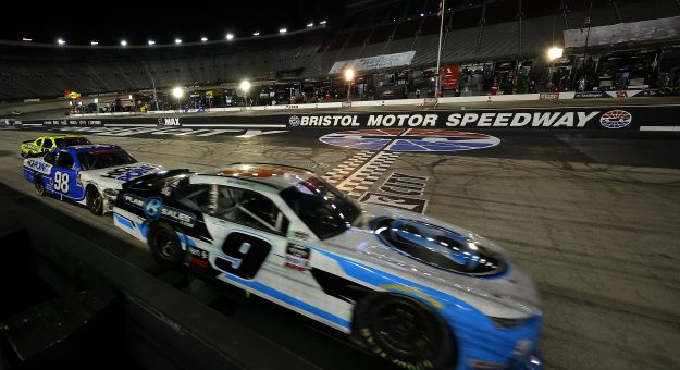 BRISTOL, TENNESSEE - JUNE 01: Noah Gragson, driver of the #9 Plan B Sales Chevrolet, crosses the finish line to win the NASCAR Xfinity Series Cheddar's 300 presented by Alsco at Bristol Motor Speedway on June 01, 2020 in Bristol, Tennessee. (Photo by Kevin C. Cox/Getty Images) | Getty Images