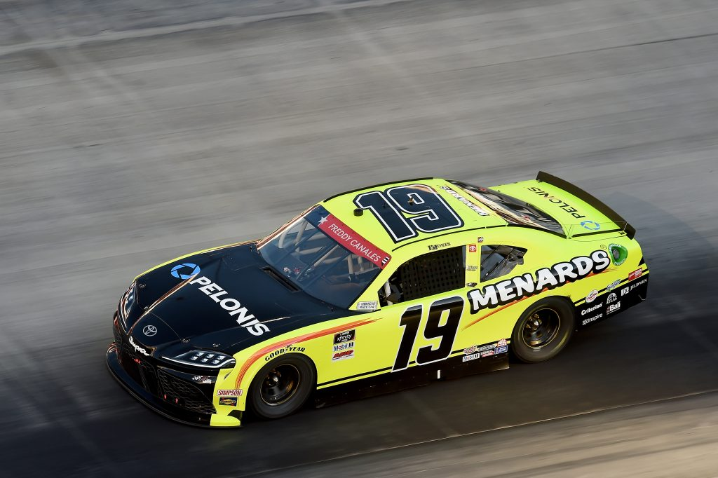 BRISTOL, TENNESSEE - JUNE 01: Brandon Jones, driver of the #19 Menards/Pelonis Toyota, drives during the NASCAR Xfinity Series Cheddar's 300 presented by Alsco at Bristol Motor Speedway on June 01, 2020 in Bristol, Tennessee. (Photo by Jared C. Tilton/Getty Images) | Getty Images
