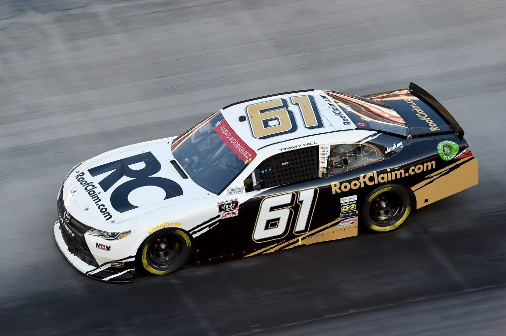 BRISTOL, TENNESSEE - JUNE 01: Timmy Hill, driver of the #61 RoofClaim.com Toyota, drives during the NASCAR Xfinity Series Cheddar's 300 presented by Alsco at Bristol Motor Speedway on June 01, 2020 in Bristol, Tennessee. (Photo by Jared C. Tilton/Getty Images) | Getty Images