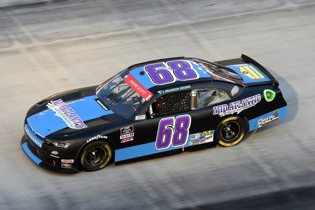 BRISTOL, TENNESSEE - JUNE 01: Brandon Brown, driver of the #68 Mid Atlantic Wrecker Services Chevrolet, drives during the NASCAR Xfinity Series Cheddar's 300 presented by Alsco at Bristol Motor Speedway on June 01, 2020 in Bristol, Tennessee. (Photo by Jared C. Tilton/Getty Images) | Getty Images